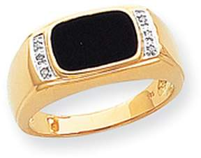 Ice 14k Onyx & A Quality Diamond Mens Ring