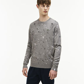 Lacoste Men's Live Crew Neck Speckled Print Jersey Sweater