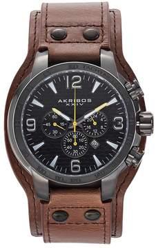 Akribos XXIV Men's Extremis Leather Chronograph Watch