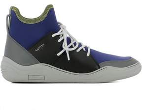 Lanvin Men's Blue Fabric Hi Top Sneakers.