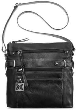 Giani Bernini Pebble Leather Multi Zip Pocket Crossbody