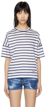 DSQUARED2 White and Navy Striped Linen Leisure T-Shirt