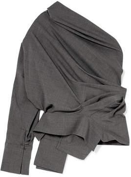 Awake One-shoulder Gathered Wool-blend Top - Dark gray