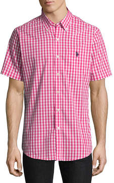 U.S. Polo Assn. USPA Short Sleeve Plaid Button-Front Shirt