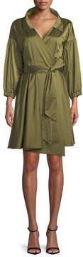 Milly Italian Duchess Taffeta Wrap Dress