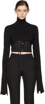 Ann Demeulemeester Black Cropped Wool Turtleneck