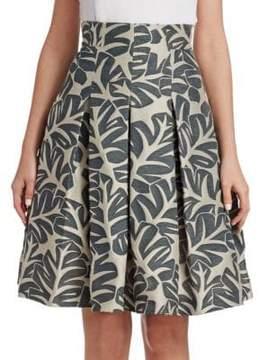 Akris Punto Tropical Leaf Jacquard Skirt