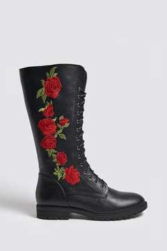 Forever 21 Embroidered Faux Leather Boots