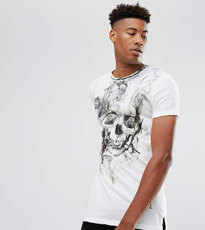 Religion TALL Longline T-Shirt With Smoke Skull Print