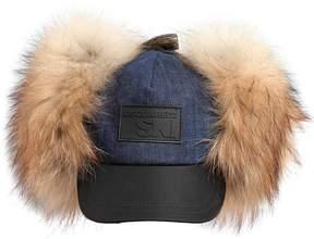 DSQUARED2 Ski Denim Hat W/ Fur Earflaps