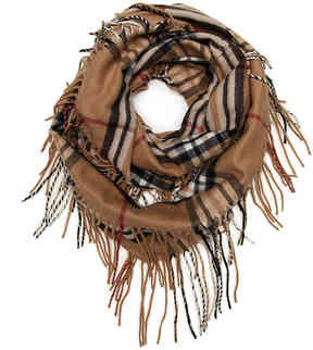 Fraas Women's Plaid Fringe Infinity Scarf