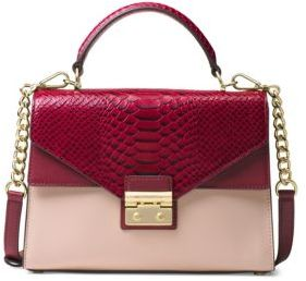 MICHAEL Michael Kors Medium Double-Flap Two-Tone Leather Satchel - SOFT PINK-BURGUNDY - STYLE