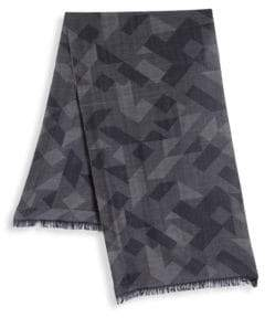 Saks Fifth Avenue COLLECTION BY JOHNSTONS Printed Merino Wool Frayed Scarf
