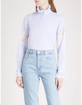 Claudie Pierlot Scalloped-trim striped cotton-poplin shirt