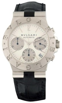 Bulgari Diagono 18K White Gold & Leather Chronograph with Date Quartz 35mm Mens Watch