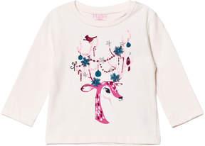 Hatley Pale Pink Glitter Reindeer Print Long Sleeve Tee