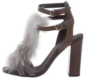 Brunello Cucinelli Fox Fur-Trimmed Sandals w/ Tags