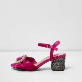 River Island Womens Pink velvet glitter block heel sandals