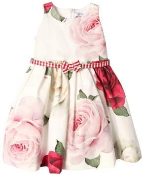 MonnaLisa Roses Print Cotton Ottoman Party Dress