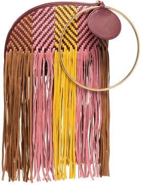 Roksanda pink, yellow and brown eartha woven bracelet leather bag