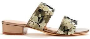 Rachel Zoe | Addison Metallic Paillette Slides | 6.5 us | Silver