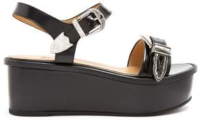 Toga Buckle leather flatform sandals