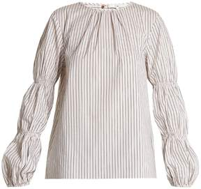 Tibi Juliet striped cotton-blend top