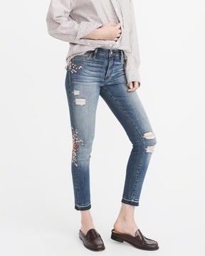 Abercrombie & Fitch Embroidered Low-Rise Ankle Jeans