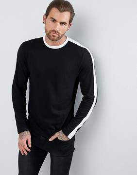 New Look Long Sleeve Top With Stripe In Black