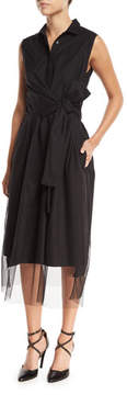 Brunello Cucinelli Sleeveless Tulle Cross-Front Midi Dress
