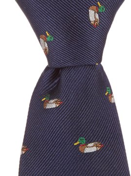 Class Club Collegiate Ducks Silk Zipper Tie