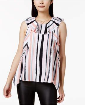 Bar III Striped Ruffle-Collar Top, Created for Macy's