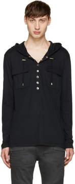Balmain Black Half-Button Hoodie