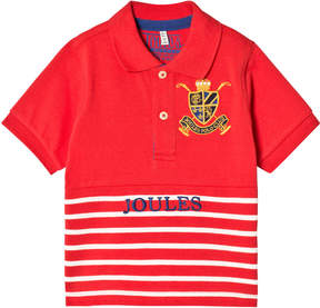 Joules Red Stripe Pique Branded Polo Top