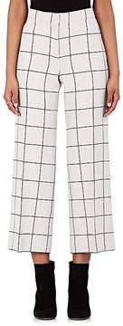 Valentino Women's Grid-Print Wool-Silk Wide-Leg Crop Trousers