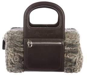 Salvatore Ferragamo Leather-Trimmed Persian Lamb Bag