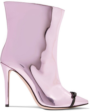 Marco De Vincenzo Bow-embellished Perspex-trimmed Mirrored-leather Ankle Boots - Pink