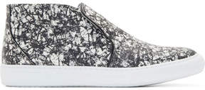 Pierre Hardy Black and White Snakeskin Slip-On Sneakers