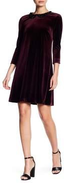 Betsey Johnson Embellished Peter Pan Collar Velvet Dress