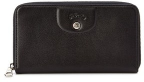 Longchamp Le Pliage Cuir Leather Long Zip Around Wallet. - BLACK - STYLE