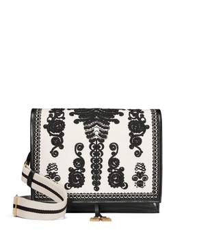 Tory Burch FARRAH EMBROIDERED SHOULDER BAG - BLACK/NEW IVORY - STYLE