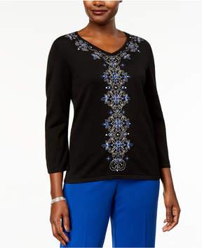 Alfred Dunner High Roller Embellished V-Neck Sweater