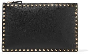 Valentino Rockstud Textured-leather Pouch - Black