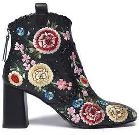 Alice + Olivia Alice+olivia Myra Whipstitched Embroidered Leather Ankle Boots