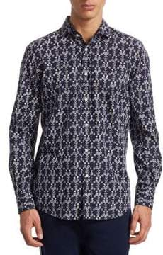 Ralph Lauren Purple Label Vintage-Tennis Print Button-Down Shirt