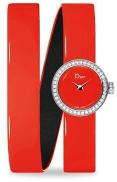 Christian Dior La D de Diamond & Patent Leather Watch