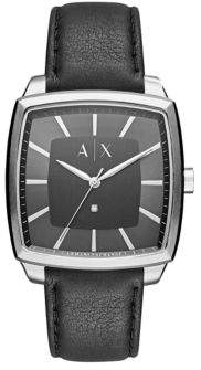 Armani Exchange 0.01CT Diamond Accented Brushed Silver Stainless Steel Leather Strap Analog Watch