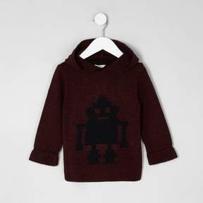 River Island Mini boys red knit robot hooded sweater