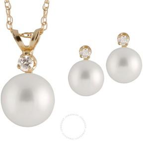 Bella Pearl 14K Gold Sliding Chinese Akoya Pearl Diamond Pendant and Earring Set