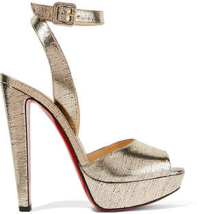 Christian Louboutin Louloudancing 140 Metallic Leather Platform Sandals - Gold